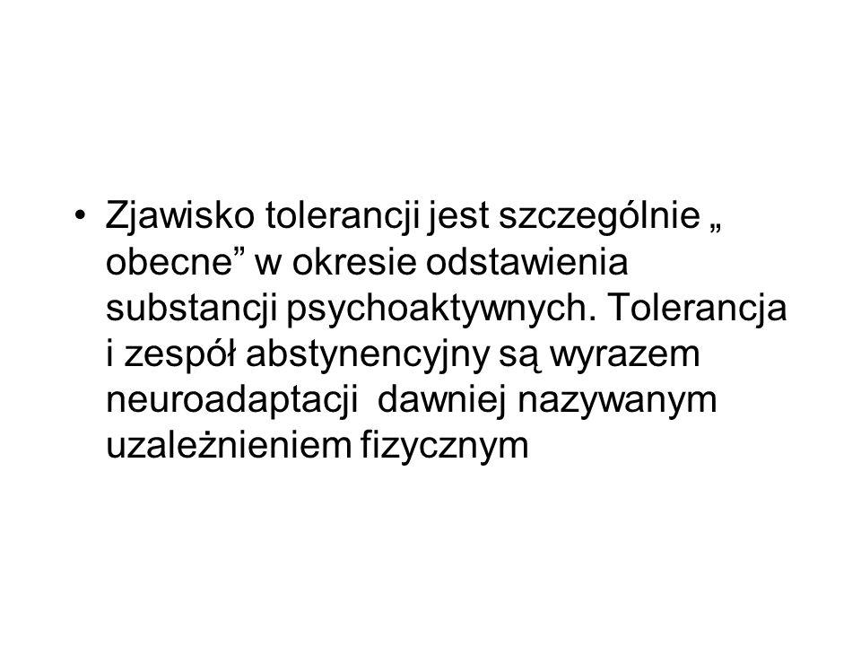 """Zjawisko tolerancji jest szczególnie """" obecne w okresie odstawienia substancji psychoaktywnych."""
