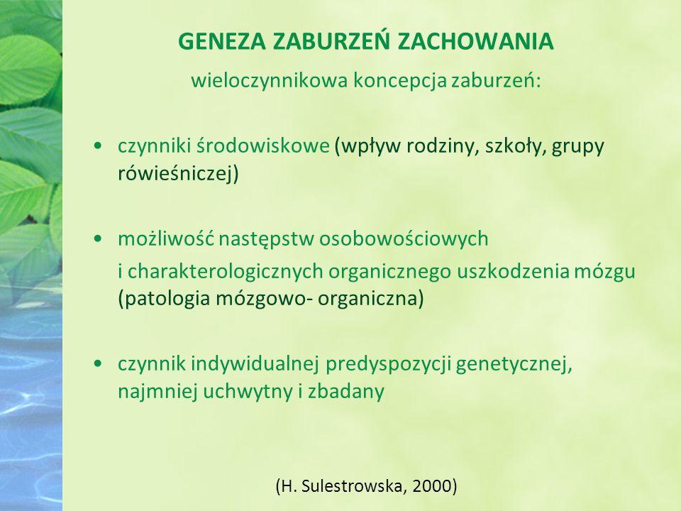 GENEZA ZABURZEŃ ZACHOWANIA