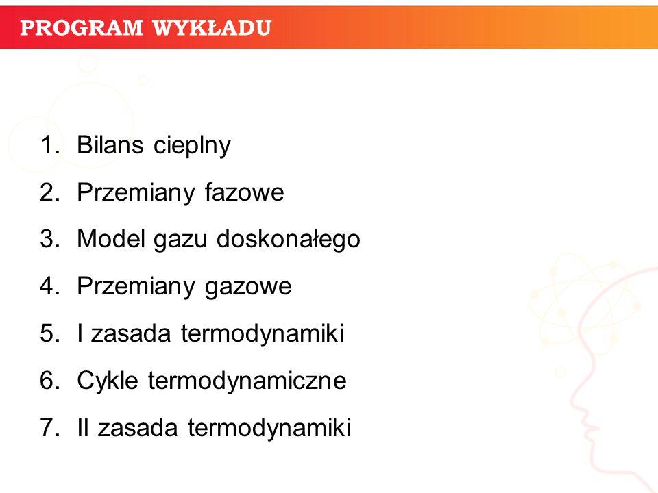 Model gazu doskonałego Przemiany gazowe I zasada termodynamiki
