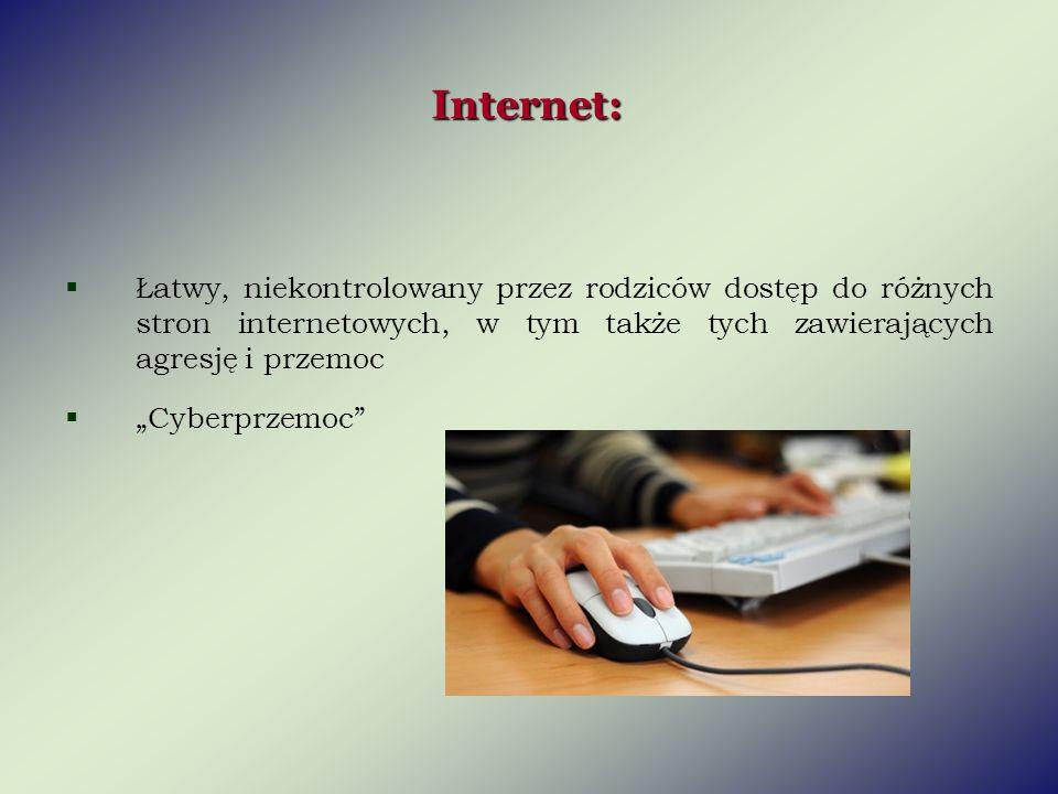 Internet: Łatwy, niekontrolowany przez rodziców dostęp do różnych stron internetowych, w tym także tych zawierających agresję i przemoc.