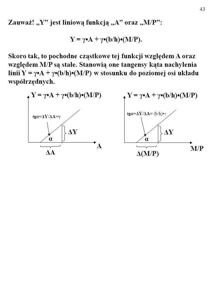 """Zauważ! """"Y jest liniową funkcją """"A oraz """"M/P :"""
