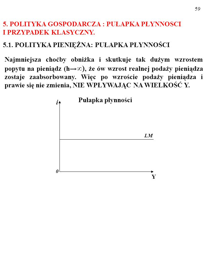5. POLITYKA GOSPODARCZA : PUŁAPKA PŁYNNOSCI I PRZYPADEK KLASYCZNY.