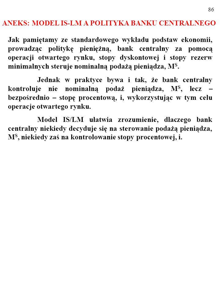ANEKS: MODEL IS-LM A POLITYKA BANKU CENTRALNEGO