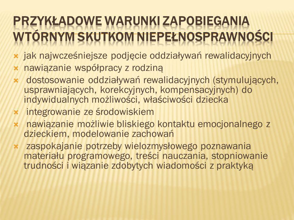 Przykładowe warunki zapobiegania wtórnym skutkom niepełnosprawności