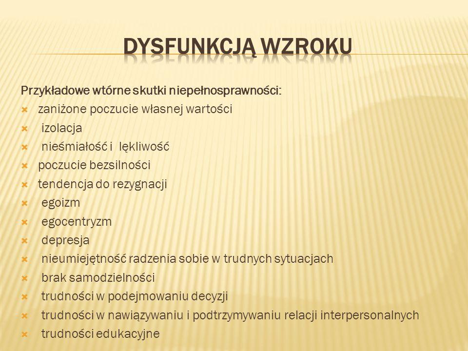 dysfunkcją wzroku Przykładowe wtórne skutki niepełnosprawności: