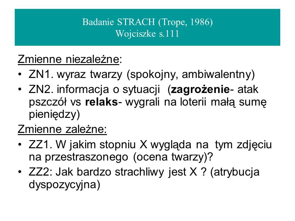 Badanie STRACH (Trope, 1986) Wojciszke s.111