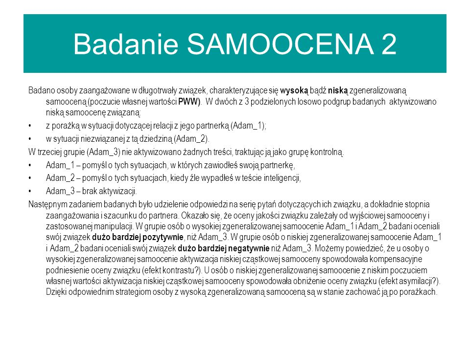 Badanie SAMOOCENA 2