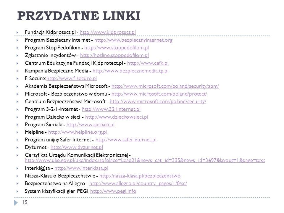 PRZYDATNE LINKI Fundacja Kidprotect.pl - http://www.kidprotect.pl