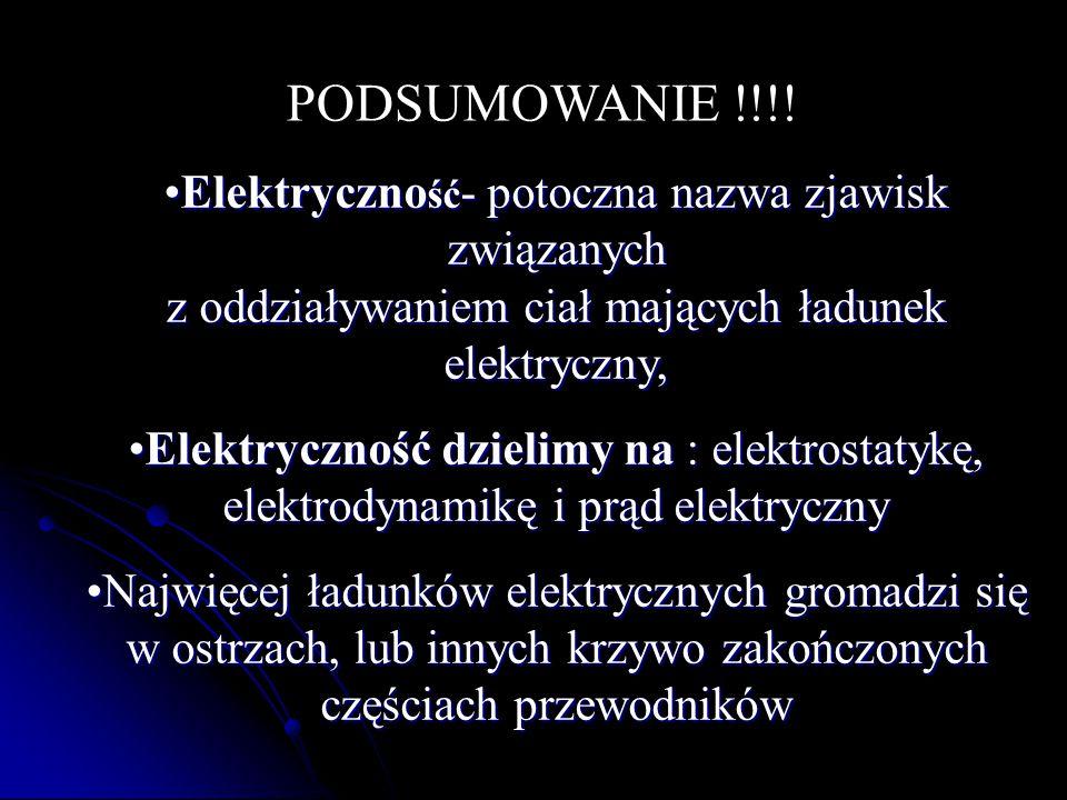 PODSUMOWANIE !!!! Elektryczność- potoczna nazwa zjawisk związanych z oddziaływaniem ciał mających ładunek elektryczny,