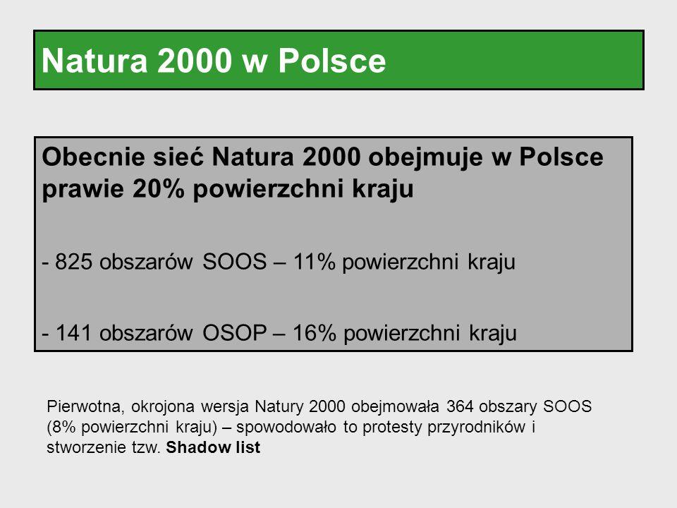 Natura 2000 w Polsce Obecnie sieć Natura 2000 obejmuje w Polsce prawie 20% powierzchni kraju. - 825 obszarów SOOS – 11% powierzchni kraju.