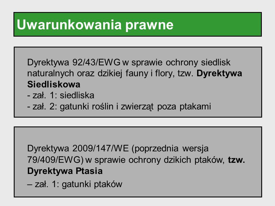 Uwarunkowania prawne Dyrektywa 92/43/EWG w sprawie ochrony siedlisk naturalnych oraz dzikiej fauny i flory, tzw. Dyrektywa Siedliskowa.