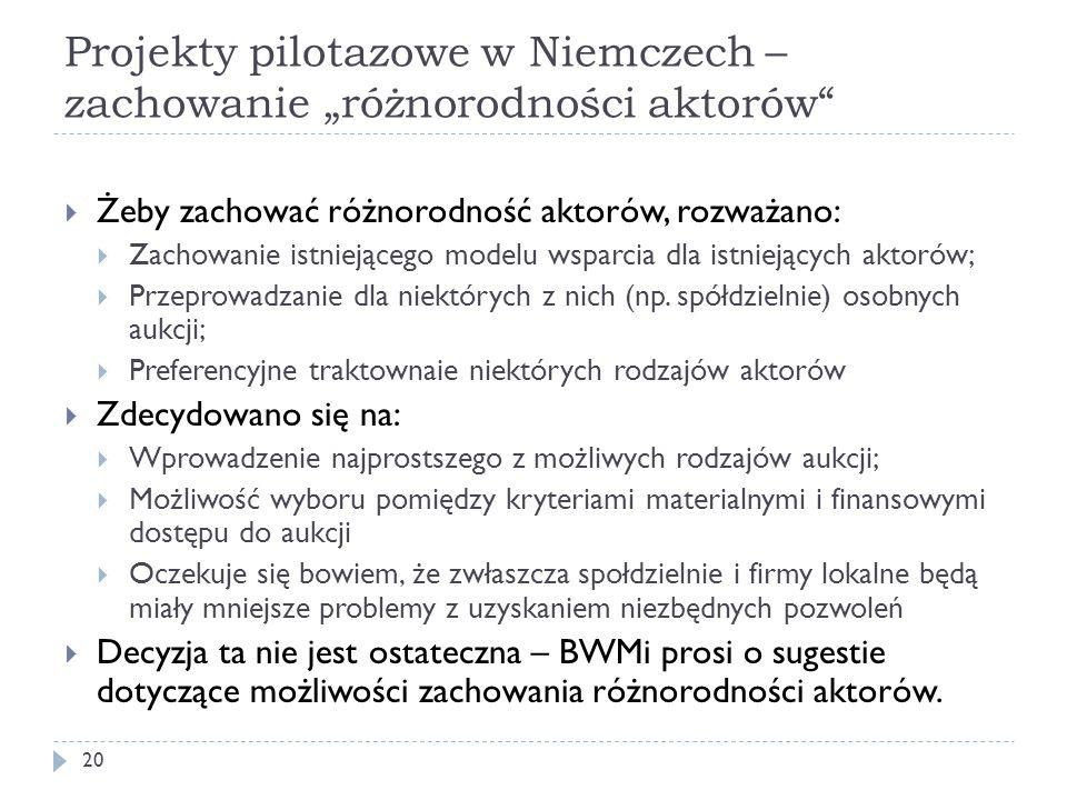 """Projekty pilotazowe w Niemczech – zachowanie """"różnorodności aktorów"""