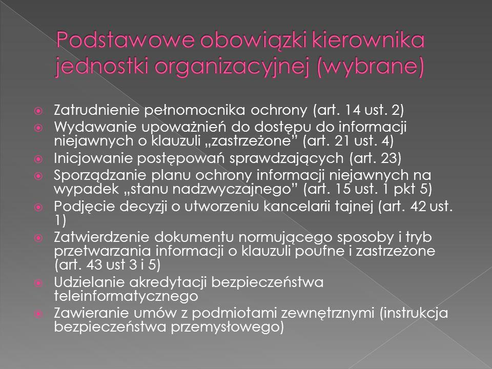 Podstawowe obowiązki kierownika jednostki organizacyjnej (wybrane)