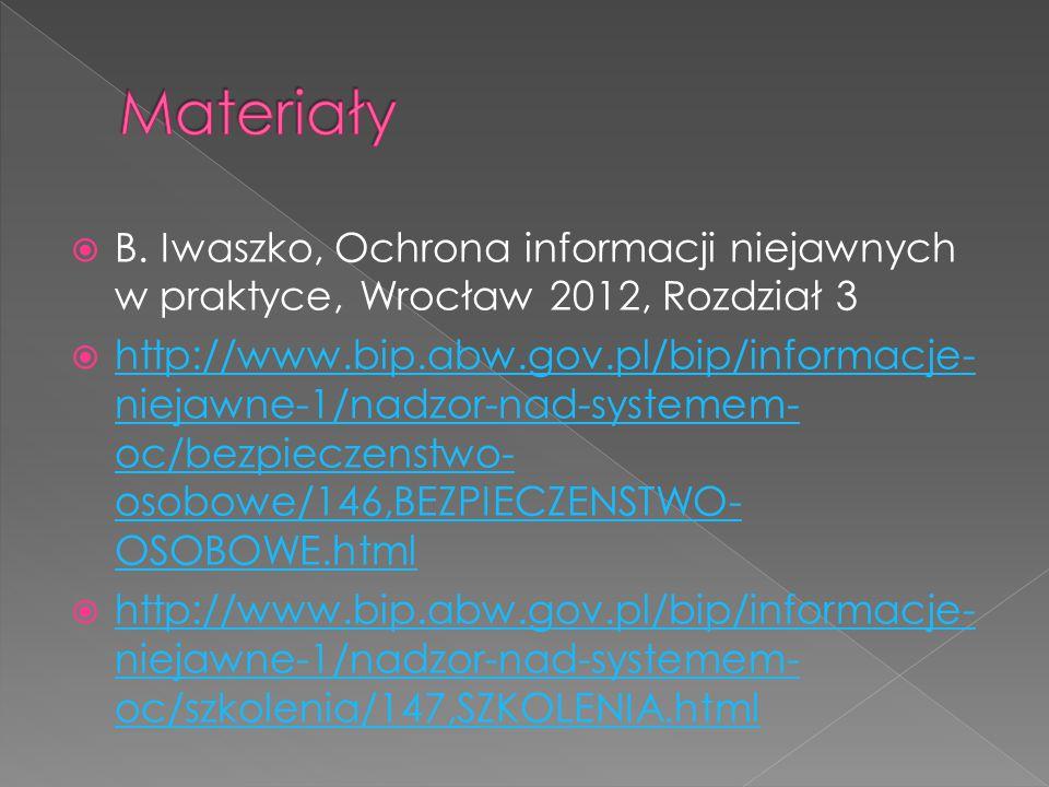 Materiały B. Iwaszko, Ochrona informacji niejawnych w praktyce, Wrocław 2012, Rozdział 3.