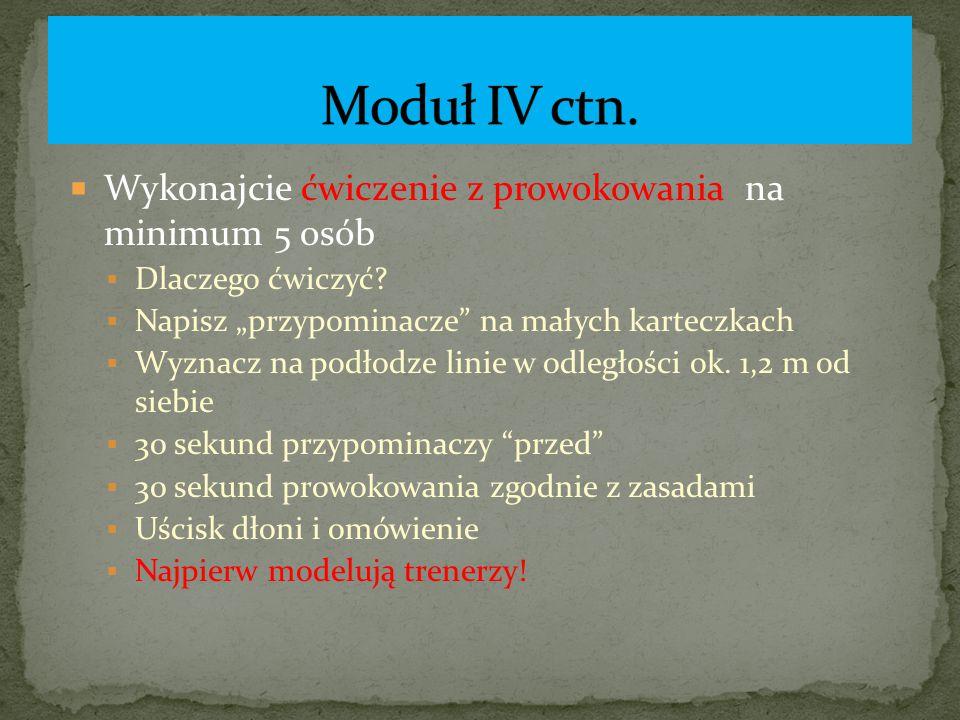 Moduł IV ctn. Wykonajcie ćwiczenie z prowokowania na minimum 5 osób