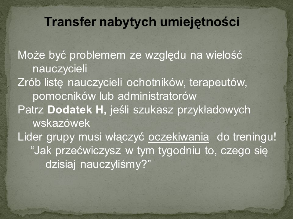 Transfer nabytych umiejętności