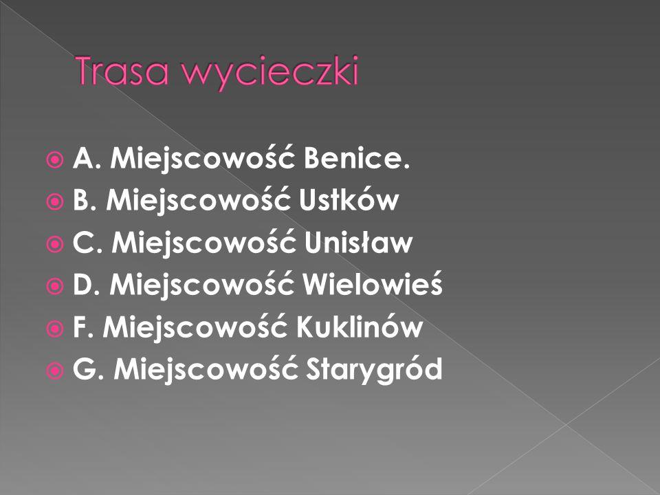 Trasa wycieczki A. Miejscowość Benice. B. Miejscowość Ustków