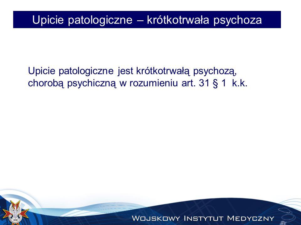 Upicie patologiczne – krótkotrwała psychoza