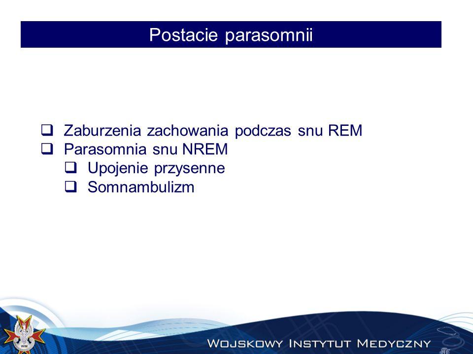 Postacie parasomnii Zaburzenia zachowania podczas snu REM
