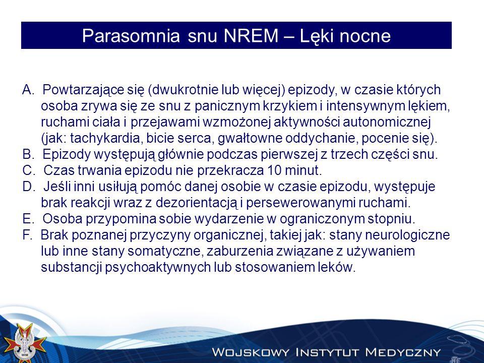 Parasomnia snu NREM – Lęki nocne