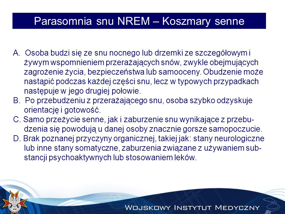 Parasomnia snu NREM – Koszmary senne