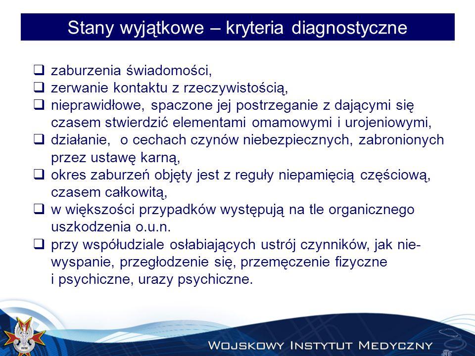 Stany wyjątkowe – kryteria diagnostyczne