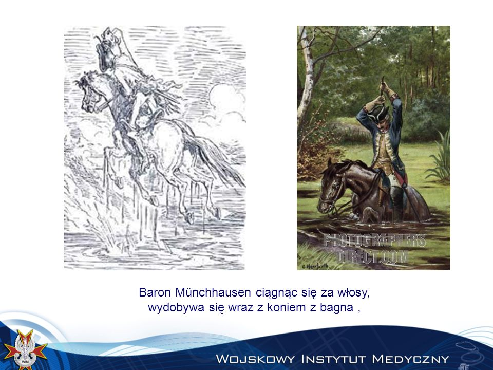 Baron Münchhausen ciągnąc się za włosy, wydobywa się wraz z koniem z bagna ,