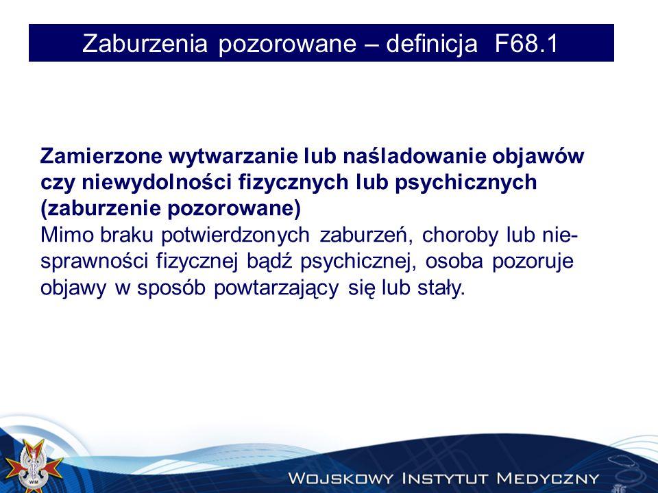 Zaburzenia pozorowane – definicja F68.1