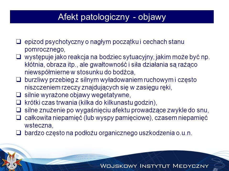 Afekt patologiczny - objawy