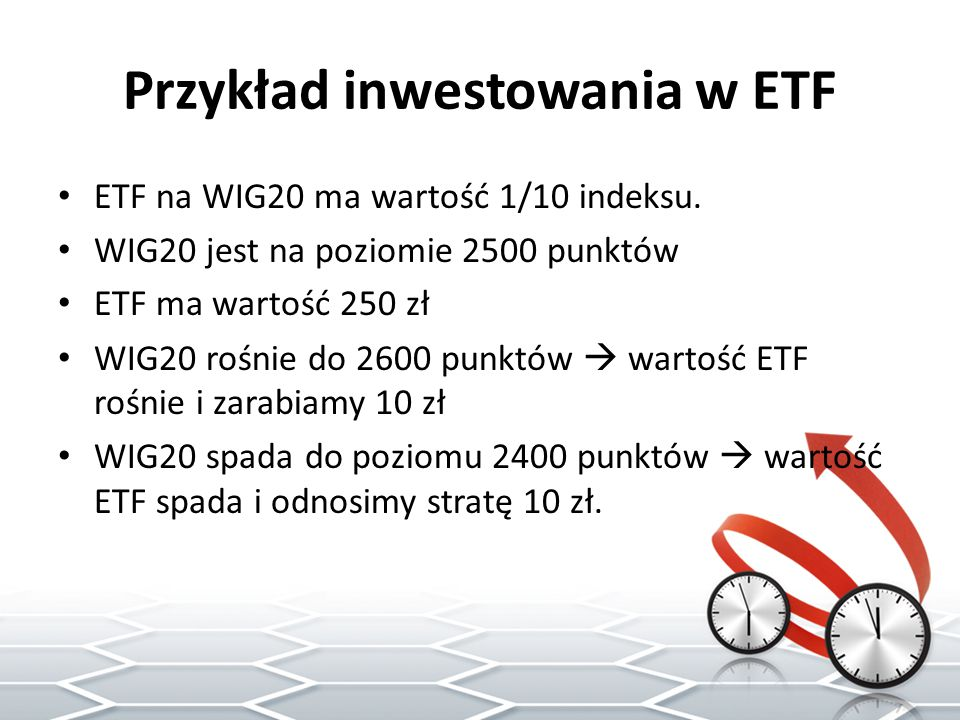 Przykład inwestowania w ETF