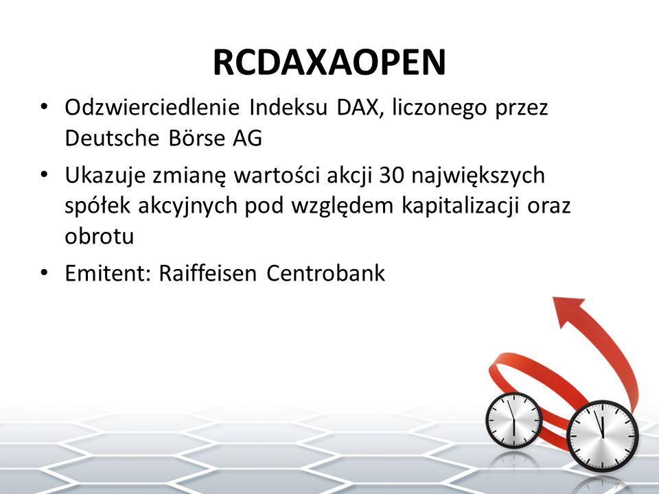 RCDAXAOPEN Odzwierciedlenie Indeksu DAX, liczonego przez Deutsche Börse AG.