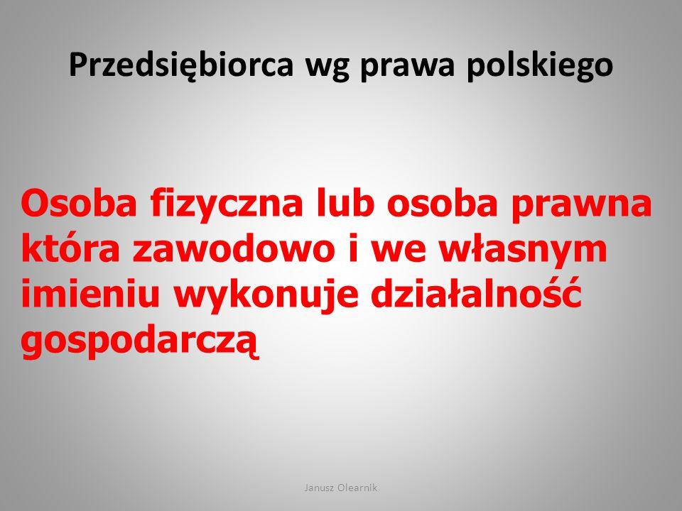 Przedsiębiorca wg prawa polskiego