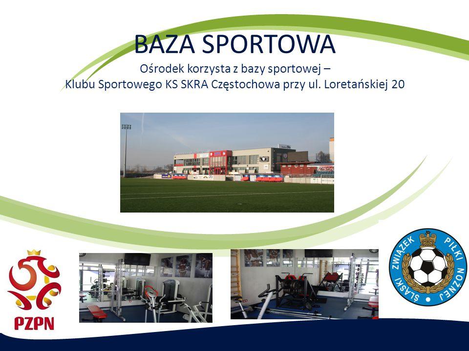 BAZA SPORTOWA Ośrodek korzysta z bazy sportowej – Klubu Sportowego KS SKRA Częstochowa przy ul.