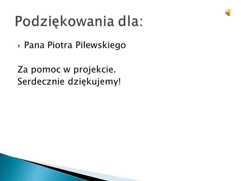 Podziękowania dla: Pana Piotra Pilewskiego Za pomoc w projekcie.