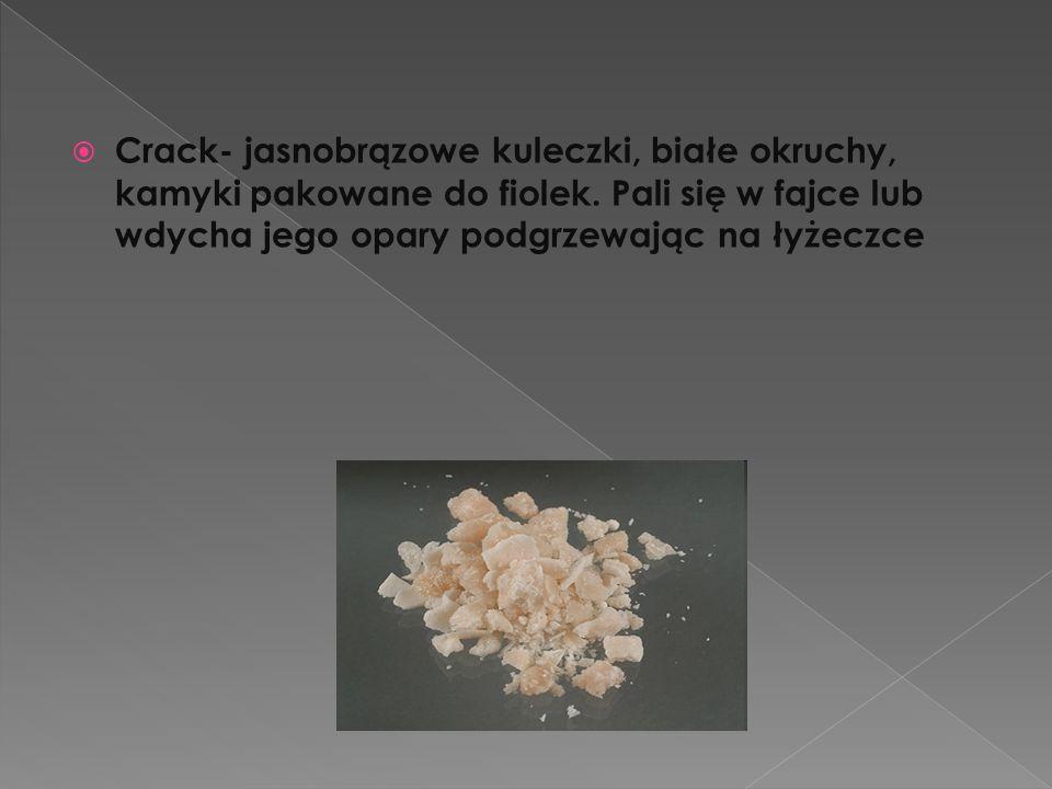 Crack- jasnobrązowe kuleczki, białe okruchy, kamyki pakowane do fiolek