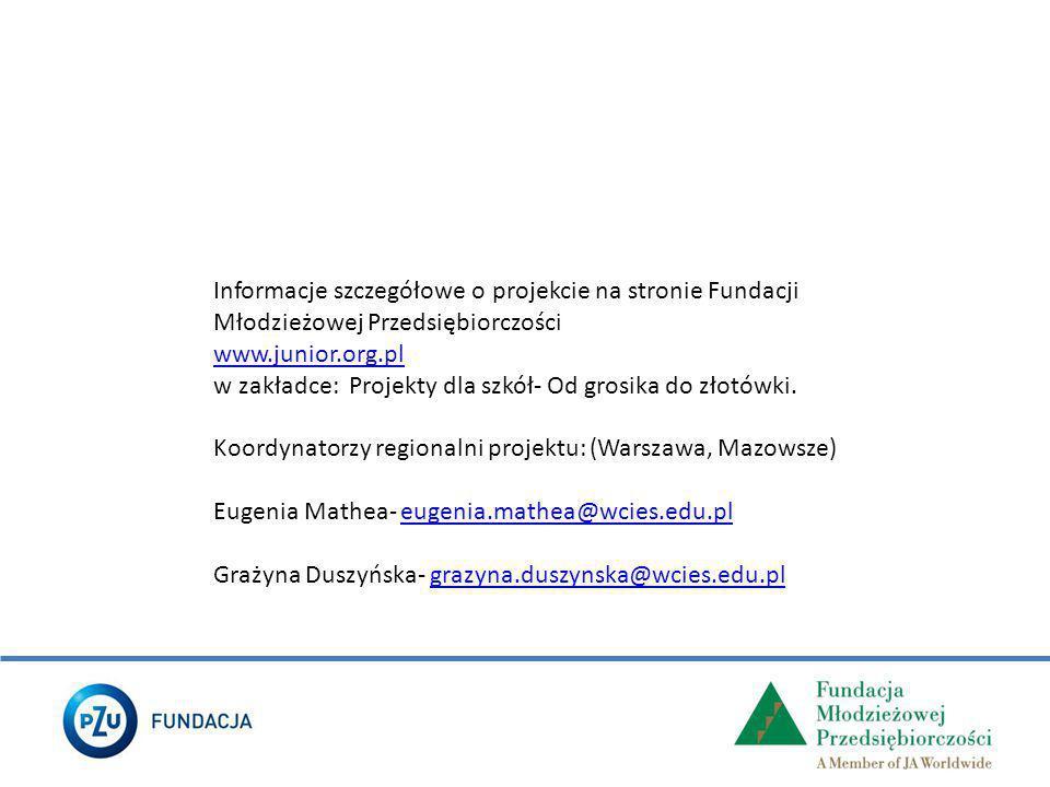 Informacje szczegółowe o projekcie na stronie Fundacji Młodzieżowej Przedsiębiorczości