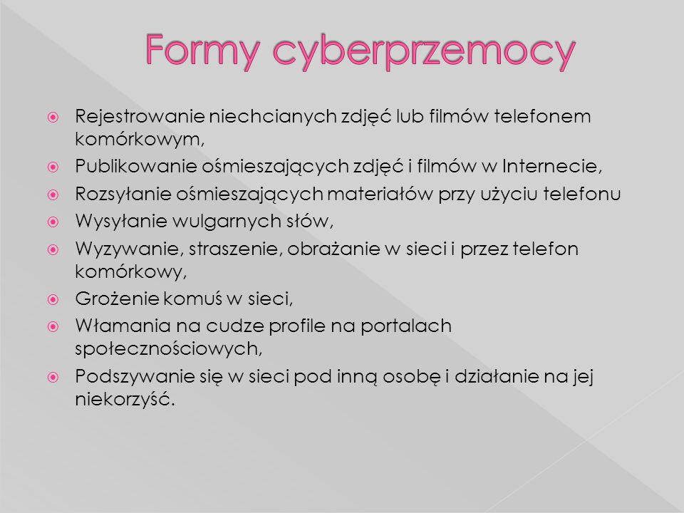 Formy cyberprzemocy Rejestrowanie niechcianych zdjęć lub filmów telefonem komórkowym, Publikowanie ośmieszających zdjęć i filmów w Internecie,