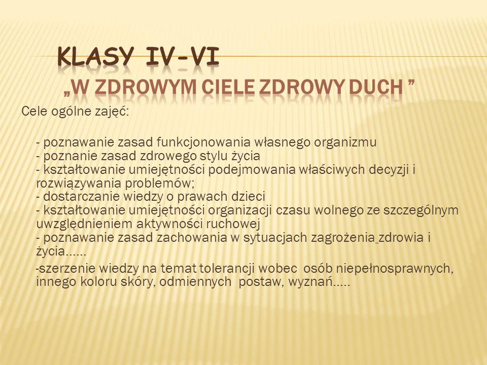 """Klasy IV-VI """"W zdrowym ciele zdrowy duch"""