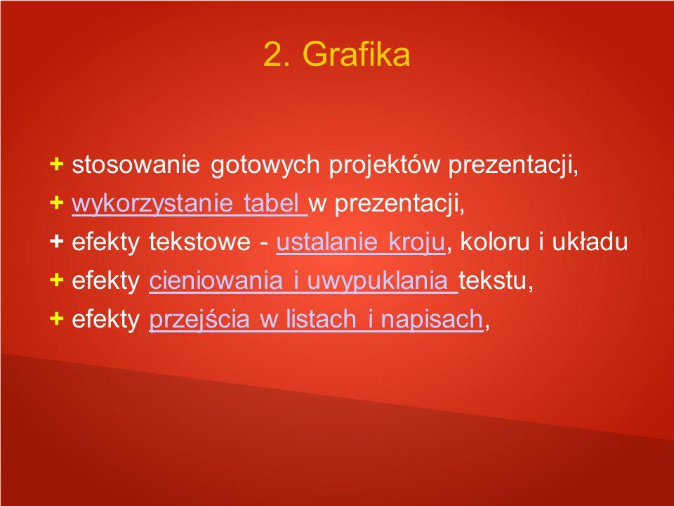 2. Grafika + stosowanie gotowych projektów prezentacji,