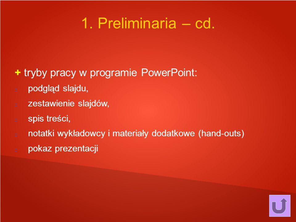 1. Preliminaria – cd. + tryby pracy w programie PowerPoint: Wstęp.