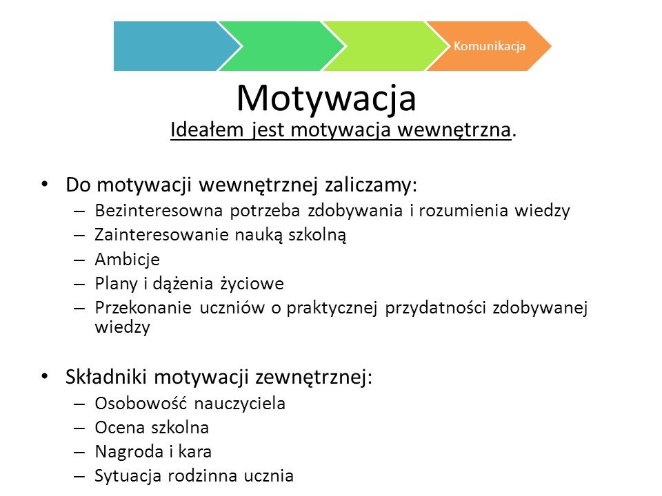 Ideałem jest motywacja wewnętrzna.