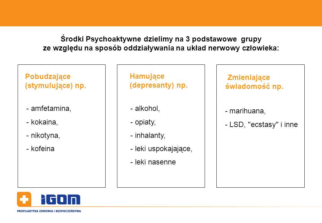 Środki Psychoaktywne dzielimy na 3 podstawowe grupy ze względu na sposób oddziaływania na układ nerwowy człowieka: