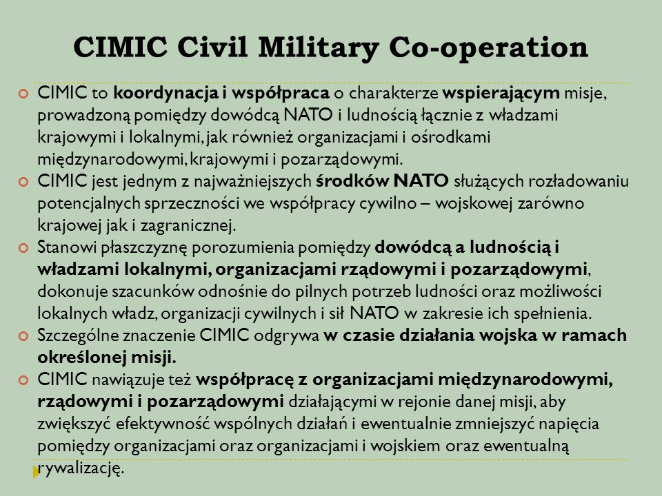 CIMIC Civil Military Co-operation