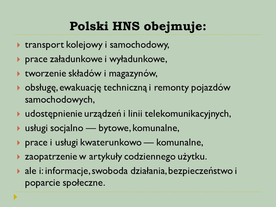 Polski HNS obejmuje: transport kolejowy i samochodowy,