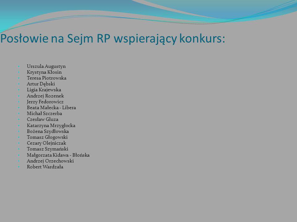 Posłowie na Sejm RP wspierający konkurs: