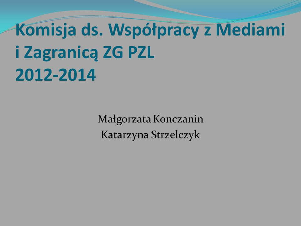 Komisja ds. Współpracy z Mediami i Zagranicą ZG PZL 2012-2014