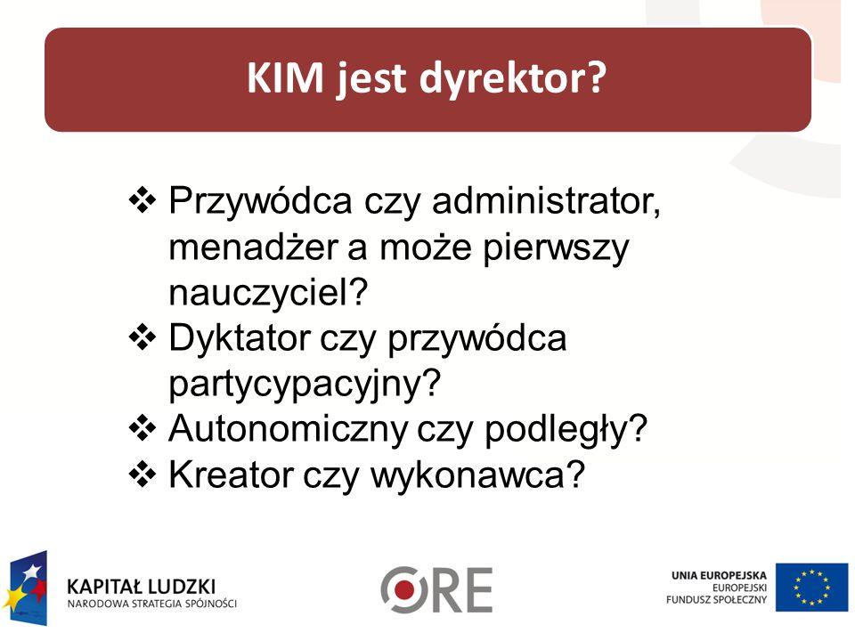 KIM jest dyrektor Przywódca czy administrator, menadżer a może pierwszy nauczyciel Dyktator czy przywódca partycypacyjny