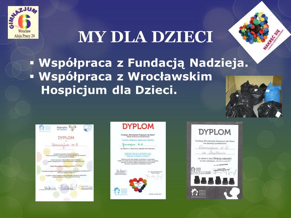 MY DLA DZIECI Współpraca z Fundacją Nadzieja. Współpraca z Wrocławskim