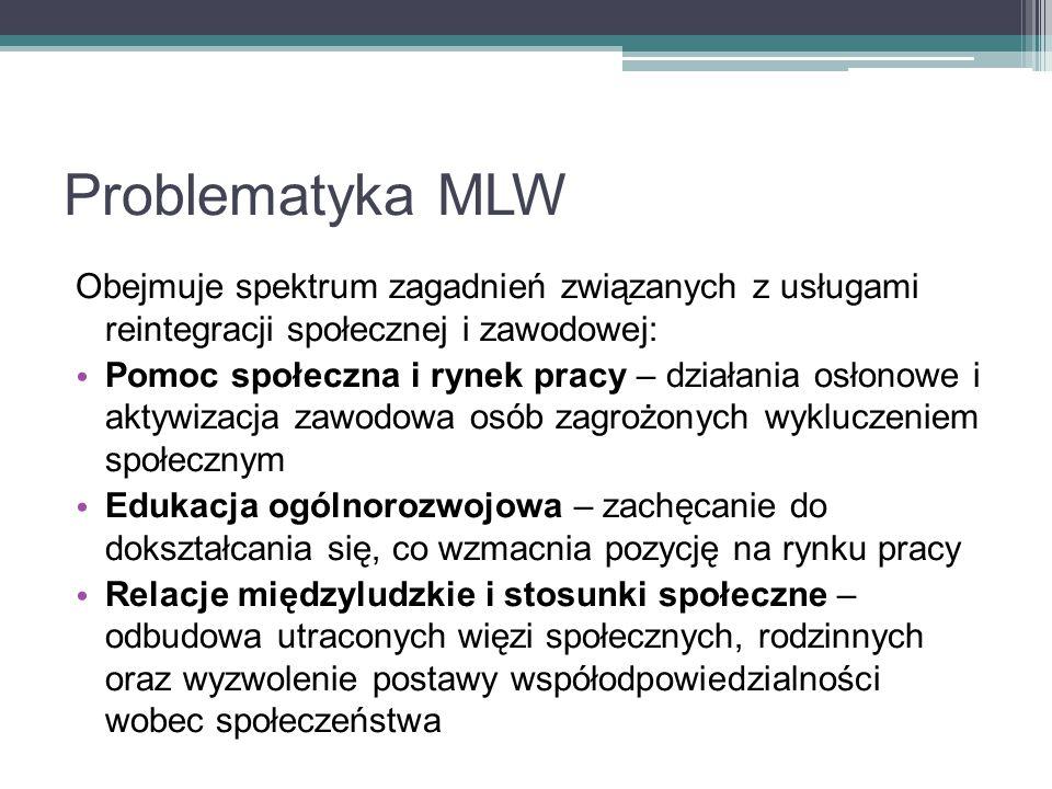 Problematyka MLW Obejmuje spektrum zagadnień związanych z usługami reintegracji społecznej i zawodowej: