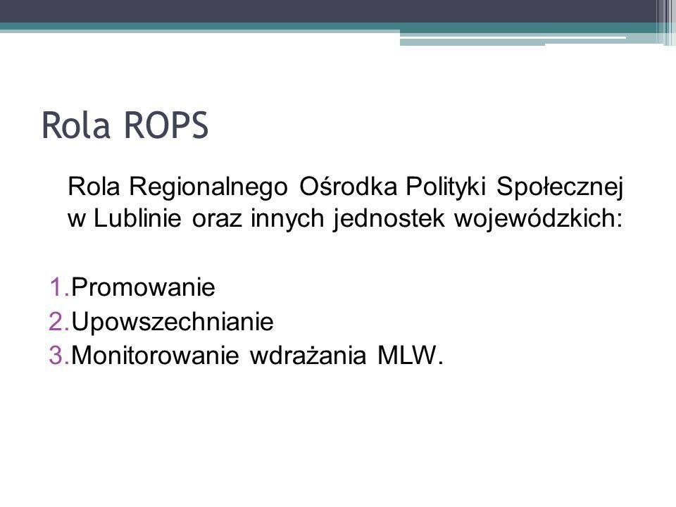 Rola ROPS Rola Regionalnego Ośrodka Polityki Społecznej w Lublinie oraz innych jednostek wojewódzkich: